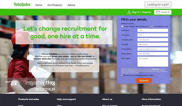 Totaljobs – Landing page